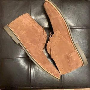 MENS STEVE MADDEN SIZE 13 TAN SUEDE LACE UP SHOES